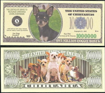 Chihuahua Dog Version 1 Collector Novelty Bill/money Single With Holder!
