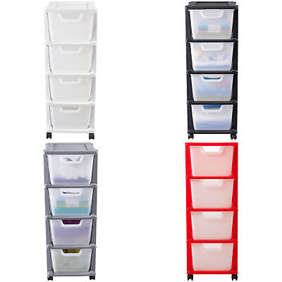 Argos Home 4Drawer Plastic Tower Storage Unit - White / Black / Silver / Red