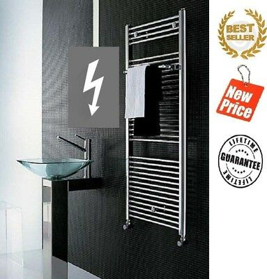 Chrome White Heated Towel Rail Straight Electric Thermostatic Bathroom Radiator