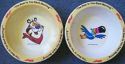 2 Kelloggs cereal bowls - Tony the Tiger (Frosties) & Toucan Sam (Froot Loops)