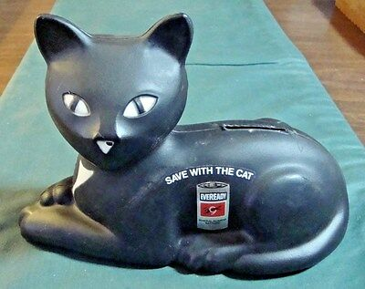 Vintage 1981 Eveready Save With The Cat Black Cat Adv Bank By Union Carbide