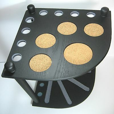 QUALITY BLACK TIMBER CORNER CUE STAND HOLDS 8 CUES & 5 DRINK COASTERS   sep