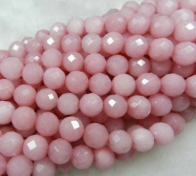 """Perfect 8mm Faceted pink Ruby Loose Beads Gemstone 15"""""""