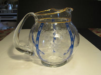 Old Ornate Crystal W/ Etched Flowers & Blue Gold Panels Ball Style Glass Pitcher