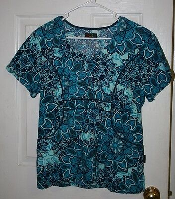 Peaches Brand Women's Scrub Top Size Medium M Teal Blues Floral Pattern