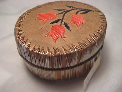Vintage Northern Plains Quill Beaded Birch Basket....early American Basket