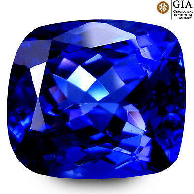 6.06 ct GIA CERTIFIED AAAA+ SPARKLING CUSHION (11 X 10 MM) D'BLOCK TANZANITE