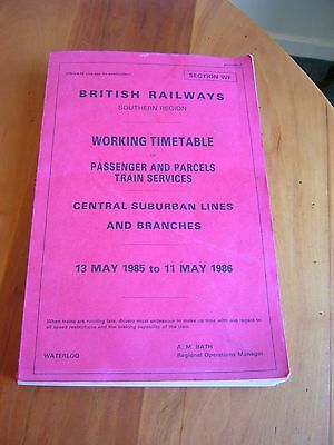 A Genuine British Railways Southern Region Working Timetable - May 1985/may 1986