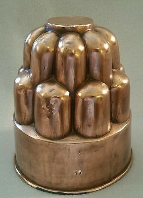 19th Century French or English Copper Tower Aspic Jelly Pudding Mold marked '15'