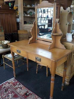 Vintage Pine Dressing Table With 2 Drawers & Bevelled Mirror On Turned Legs