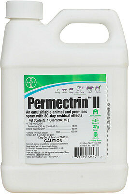 1 Quart PERMECTRIN II Barn Horse Mosquito Deer Ticks Lice Flea Spiders Fly Spray