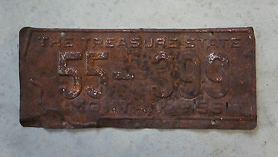 1955 County 55 Montana Prison Made License Plate # 55 - 399