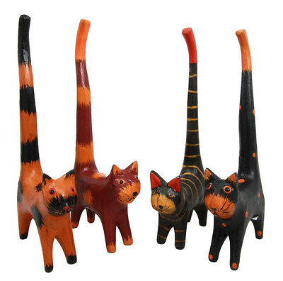 "Balinese Wood Handicrafts ""Kucing Coki"" Long Tail Feline Cats Set of 4 Figurines"