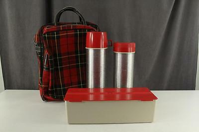Vintage Red Plaid Picnic Travel Thermos Set KING SEELEY Complete in Carry Bag