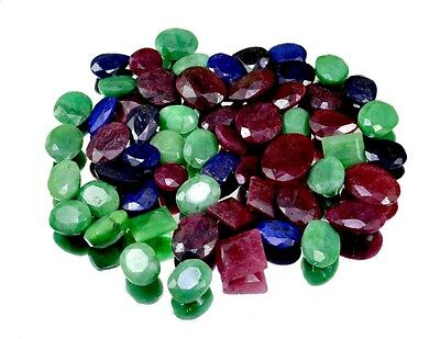 600ct / 58pcs Natural Emerald Ruby Sapphire Gemstone For Ring Wholesale Lot