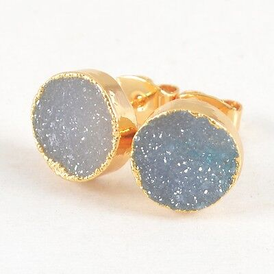 10mm Round Agate Druzy Geode Stud Earrings Gold Plated T025091
