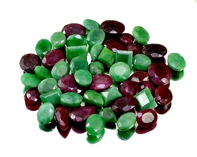 450ct /49pcs Natural Emerald Ruby Sapphire Ring Size Gemstone Wholesale Lot