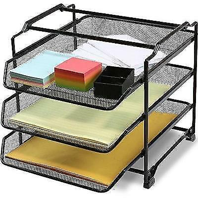 DecoBros STACKABLE 3 Tier Desk Document Letter Tray Organizer, Black New