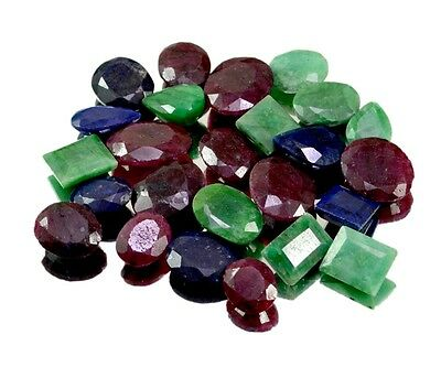 250ct / 25pcs Natural Emerald Ruby Sapphire Ring Size Gemstone Wholesale Lot