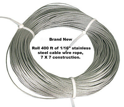 "1/16"" X 400 Feet 7X7 Construction Stainless Steel Cable Wire Rope."