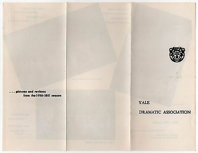 Rare YALE UNIVERSITY 1950 1951 Dramatic Association Brochure THEATER College CT