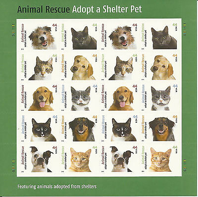 #4451-60 Adopt a Shelter Pet Sheet of 20 Sealed in PO Packaging