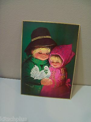 Vtg Christmas Card Front Art Print Peasant Child Pink Dress Dove Wolfgang M Otto