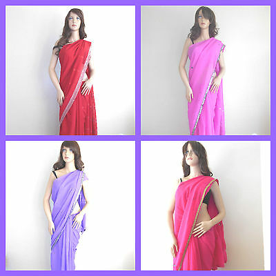 Wholesale lot of 4 bollywood Saree Indian dress saree Georgette Frees shipping