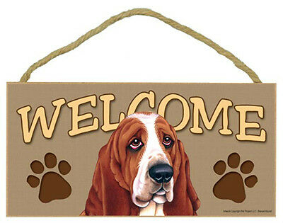 BASSET HOUND Dog 5 x 10 Wood WELCOME SIGN Plaque USA Made