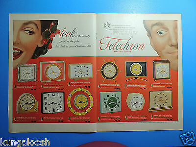 1953 Telechron Electric Clocks-Christmas Gift Photo Art 2 Page Ad