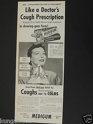 1954 Medigum For Coughs Due To Colds. Vintage Photo Art Ad