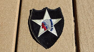 ORIGINAL U S ARMY 2ND INFANTRY DIVISION PATCH Cut Edge White Back