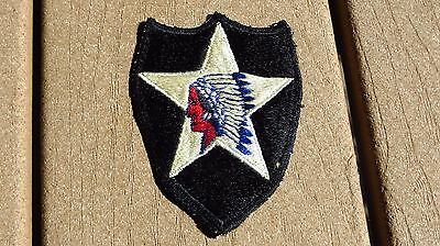 ORIGINAL U S ARMY 2ND INFANTRY DIVISION PATCH Cut Edge White Back JAPANESE MADE