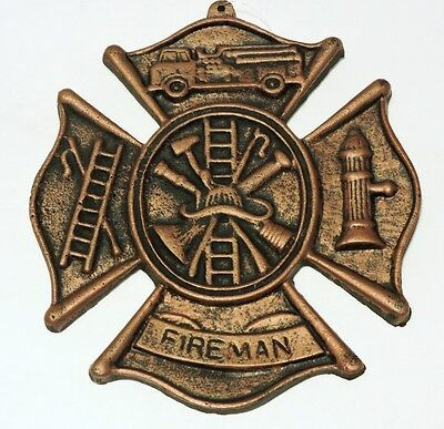 Fireman Plaque Cast Iron Rustic Wall Decor New Old Fashioned Vintage 8x9 inches