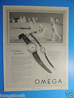 1953 For Christmas, This Gift Alone...omega Watch Photo Art Ad