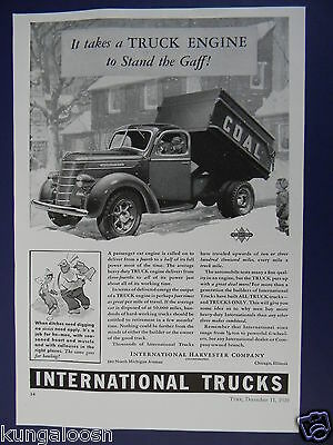 1939 Internation Harvester Truck Ad,coal Delivery In A Snow Storm Truck Art Ad