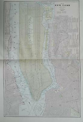 1891 New York City Large 2-page Original Color Atlas Map** 126 years-old!
