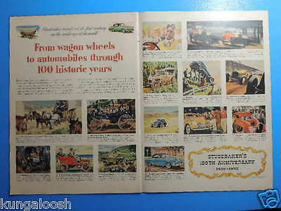 1952  Studebaker's 100Th Anniversary 2 Page Art Ad