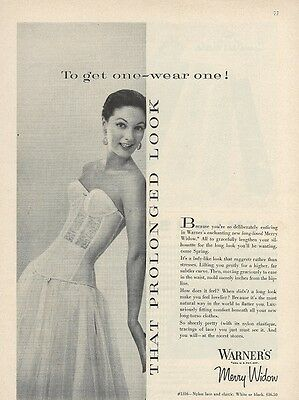 1955 Warners MERRY WIDOW Rockabilly Bombshell Lace BUSTIER Advertisement AD