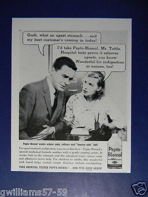 1957 Comical Caption Style Photo Art Ad For Pepto-Bismo
