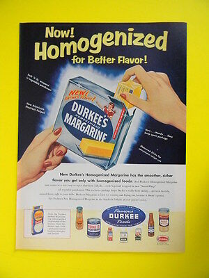 1955 Now Homogenized For Better Flavor ~ Durkee's Margarine Sales Color Art Ad