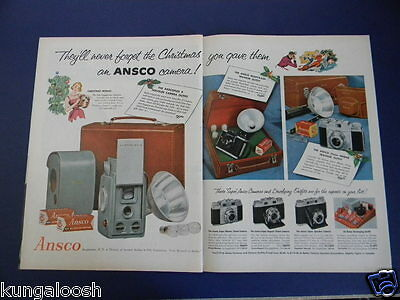1955 Ansco Camera Outfits Christmas Sales Two Page Art Ad