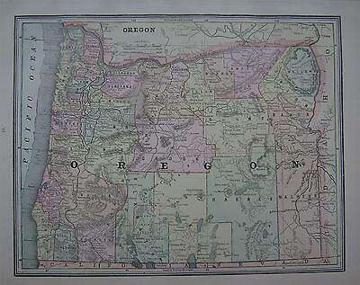 1891 Oregon Antique Color Atlas Map** ...with area & Pop. .... 126 years-old!!