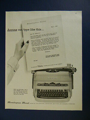 1953 Anyone Can Type Like This...remington Electric Typewriter Photo Art Ad