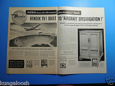 "1953 Bendix Tv! Built To ""aircraft Specification!"" 2 Page Photo Art Ad"