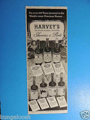 1952 Harvey's Sherries & Ports (7 Bottles With Descriptions) Photo Art Ad