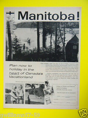 1959 Manitoba -  Holiday In The Heart Of Canada's Vacationland - Travel Photo Ad