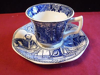 Adams Old English Staffordshire Jamestown Virginia Cup and Saucer Souvenir