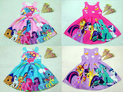 New Cute Girls My Little Pony Princess Dress Kids Summer Party Skater Dress 2-7Y