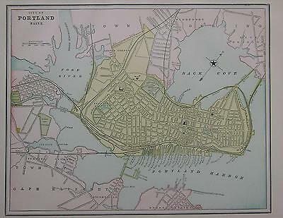 1891 Portland, Maine Color Atlas Map** Mexico map on Back ... 126 years-old!!